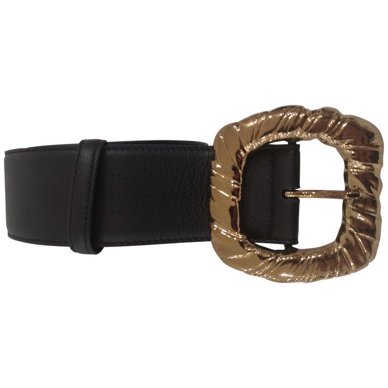 Black Leather bronze gold hardware belt NWOT For Sale