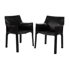 Black Leather Cab Armchairs, Cassina