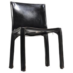 "Black Leather ""Cab"" Chair by Mario Bellini for Cassina"