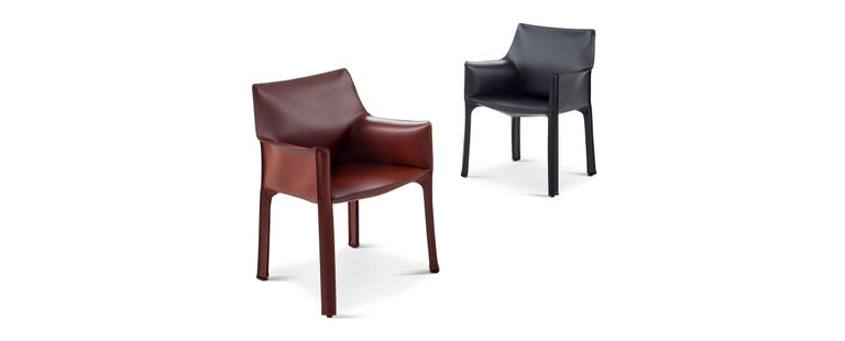 Modern Black Leather Cab Armchair, Cassina  For Sale