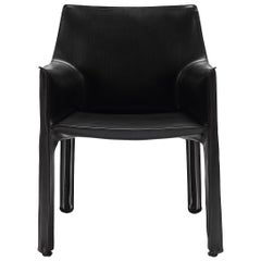 Black Leather Cab Armchair, Cassina
