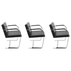 Black Leather Chrome-Plated Steel Chairs Brno Knoll Style, 1990s Set of 3