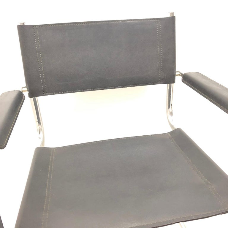 Black Leather Chrome Plated Tubular Steel Cantilever Style Chair German, 1970s For Sale 4