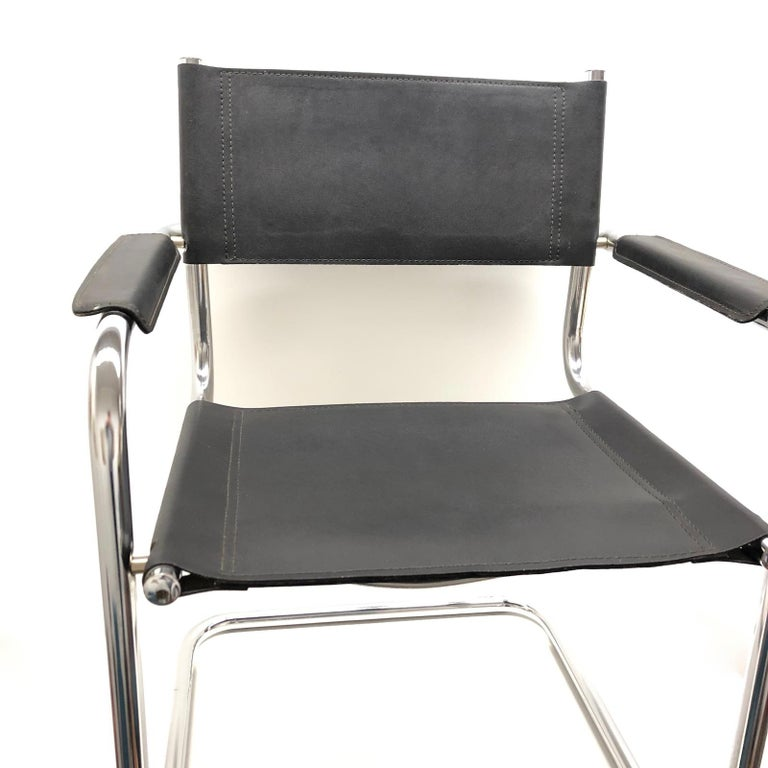 Mid-Century Modern Black Leather Chrome Plated Tubular Steel Cantilever Style Chair German, 1970s For Sale