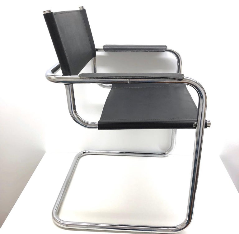 Italian Black Leather Chrome Plated Tubular Steel Cantilever Style Chair German, 1970s For Sale