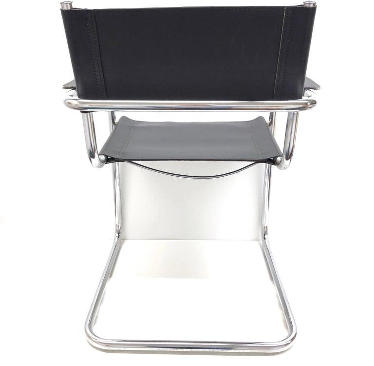 Black Leather Chrome Plated Tubular Steel Cantilever Style Chair German, 1970s In Good Condition For Sale In Nürnberg, DE