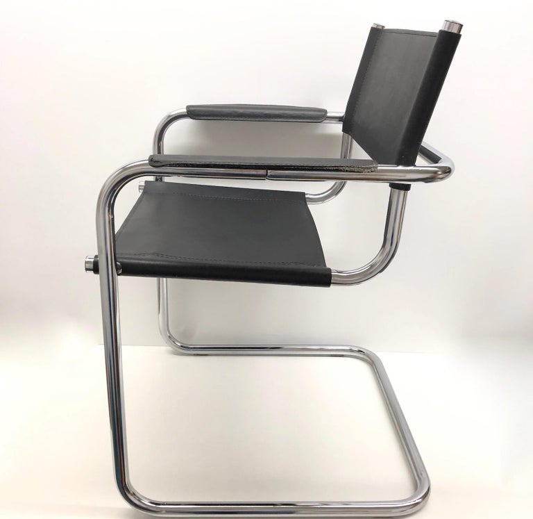 Late 20th Century Black Leather Chrome Plated Tubular Steel Cantilever Style Chair German, 1970s For Sale