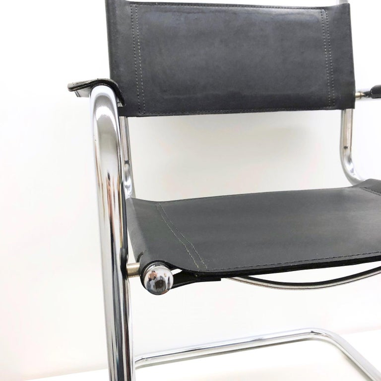 Black Leather Chrome Plated Tubular Steel Cantilever Style Chair German, 1970s For Sale 2