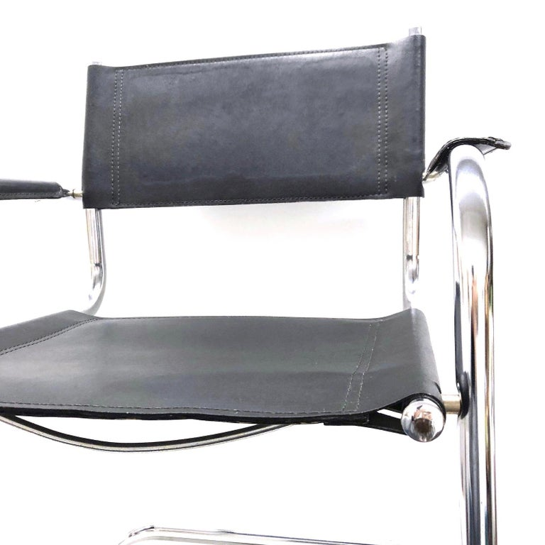 Black Leather Chrome Plated Tubular Steel Cantilever Style Chair German, 1970s For Sale 3