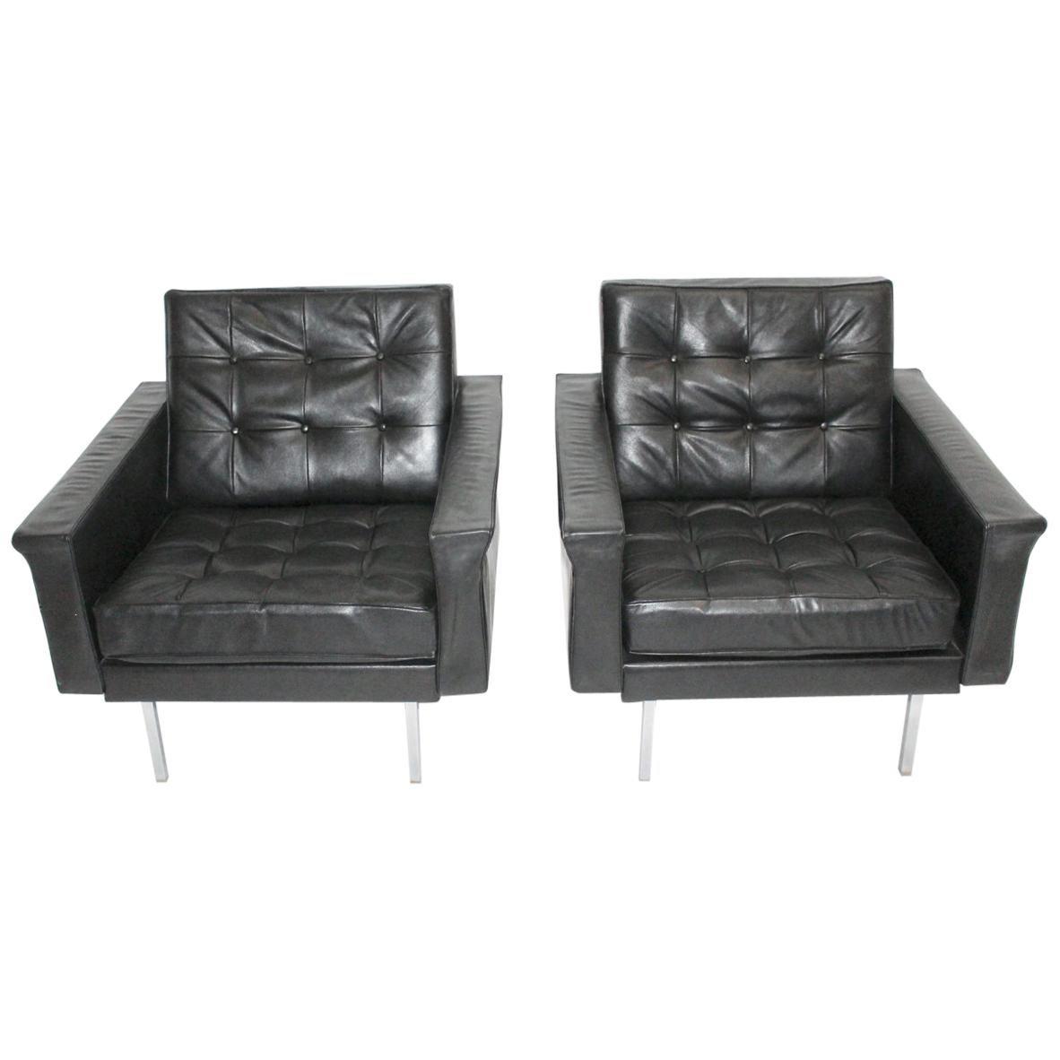 Black Leather Club Chairs by Johannes Spalt, Vienna, 1960 for Franz Wittmann