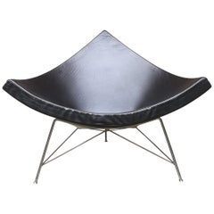 Black Leather Coconut Armchair by George Nelson, from 1950