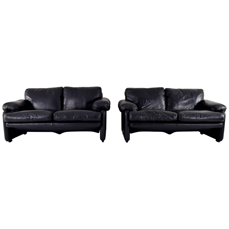 Black Leather Coronado Sofa by Tobia & Scarpa for B&B, Italy, 1970s