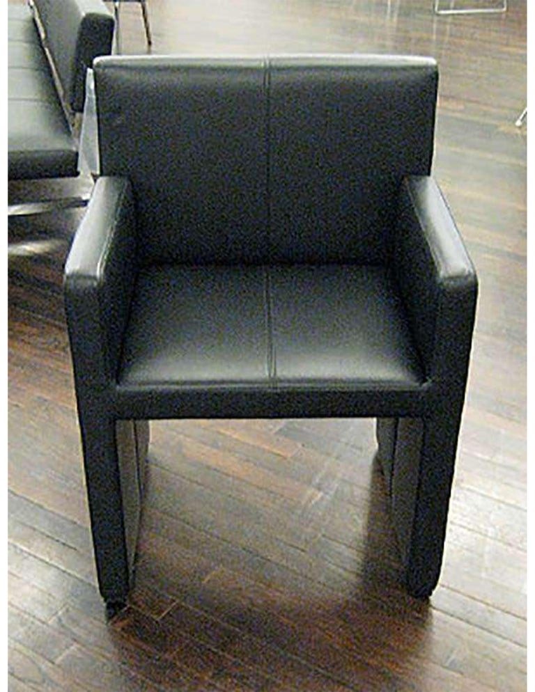 Wittmann Black Leather Corso Armchair In Excellent Condition For Sale In New York, NY