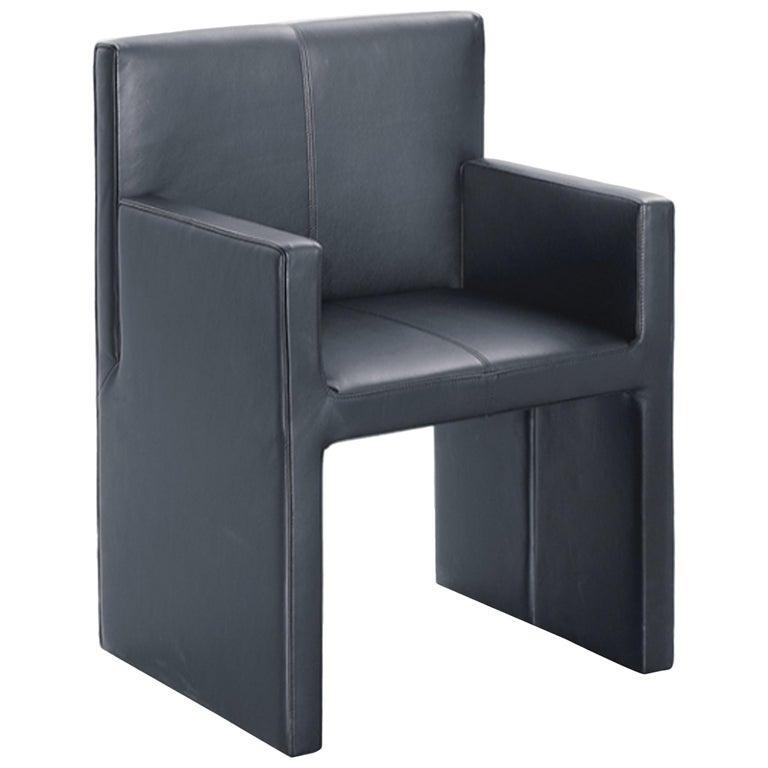 Wittmann Black Leather Corso Armchair For Sale