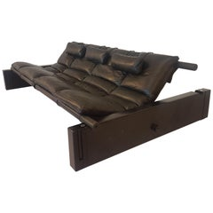 Black Leather Daybed Lounge Sofa by Vittorio Mazzucioni