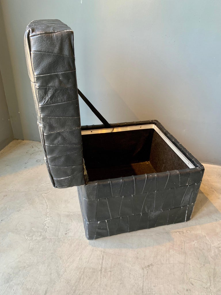 Swiss Black Leather De Sede Ottoman with Storage For Sale
