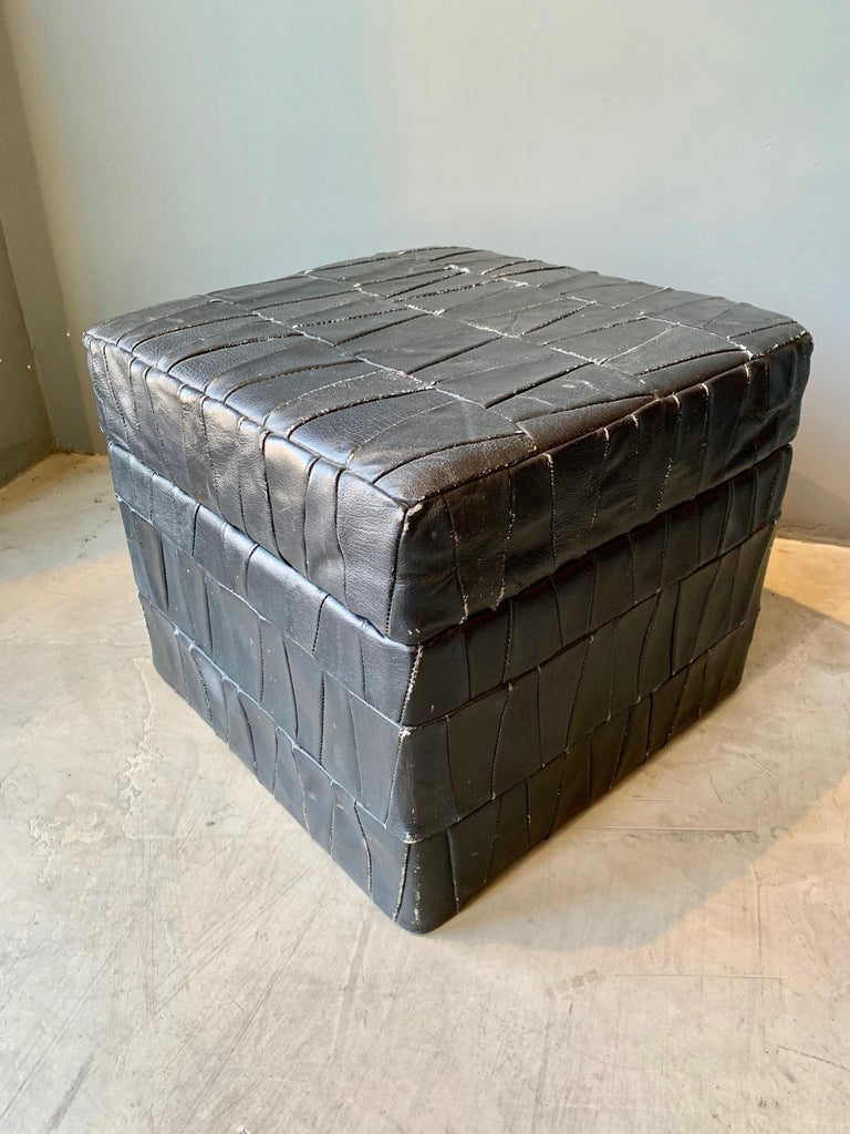 Late 20th Century Black Leather De Sede Ottoman with Storage For Sale