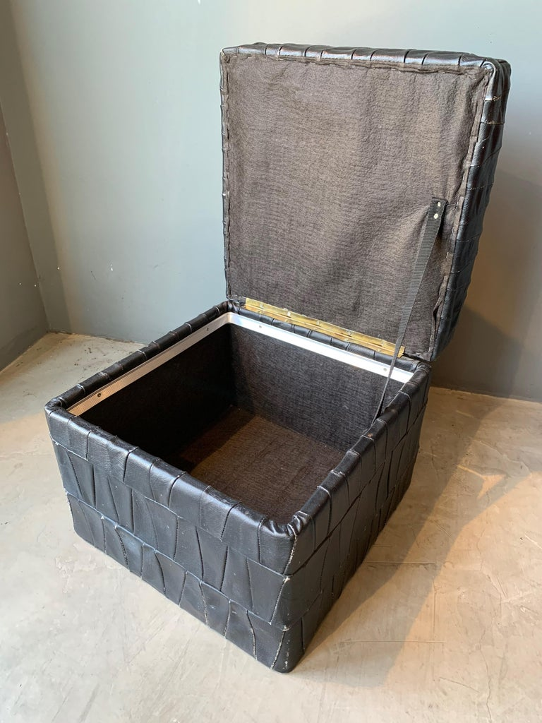 Black Leather De Sede Ottoman with Storage For Sale 1