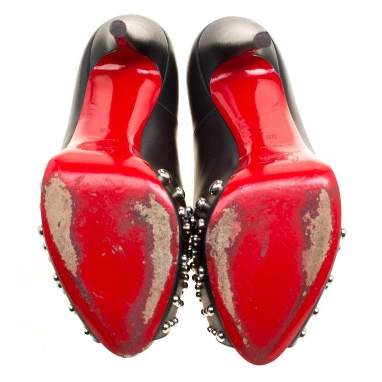 Women's Black Leather Door Knock Studded Peep Toe Platform Pumps Size 39 For Sale