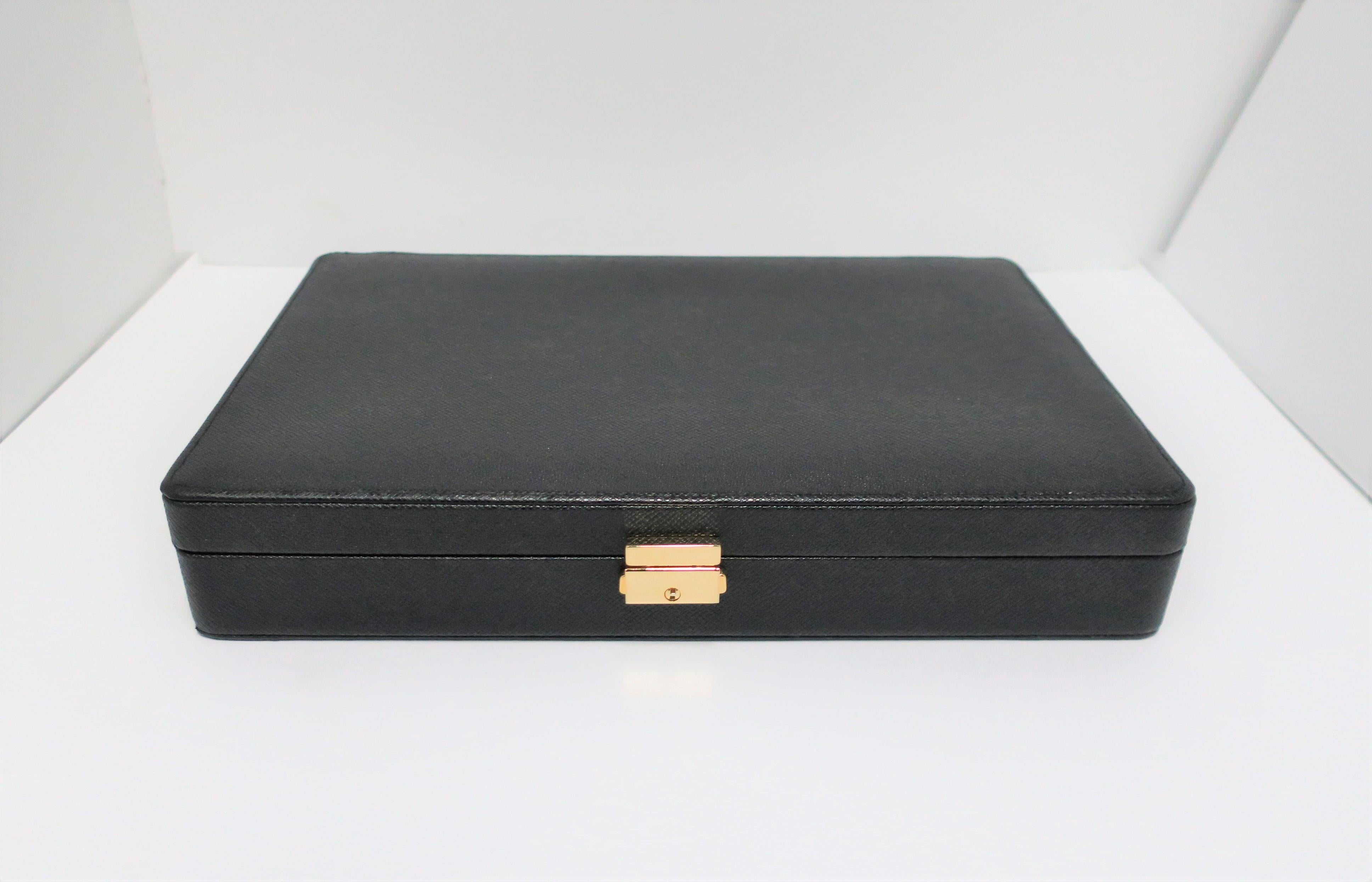 6c4303f7b5fe Black Leather Earring or Cufflink Jewelry Box For Sale at 1stdibs