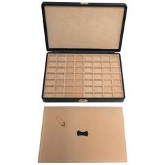 Black Leather Earring or Cufflink Jewelry Box