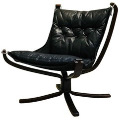 Black Leather Falcon Chair