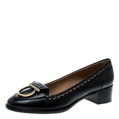 Black Leather Fele Gancio Detail Block Heel Loafer Pumps Size 41