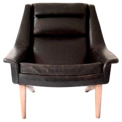 Black Leather Folke Ohlsson Armchair M 4410 Manufactured by Fritz Hansen, 1958