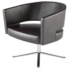 Black Leather Four-Star Base Turner Armchair