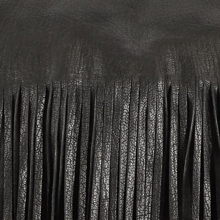 Organic Modern Small Fringe Pillow in Black Leather by Moses Nadel For Sale