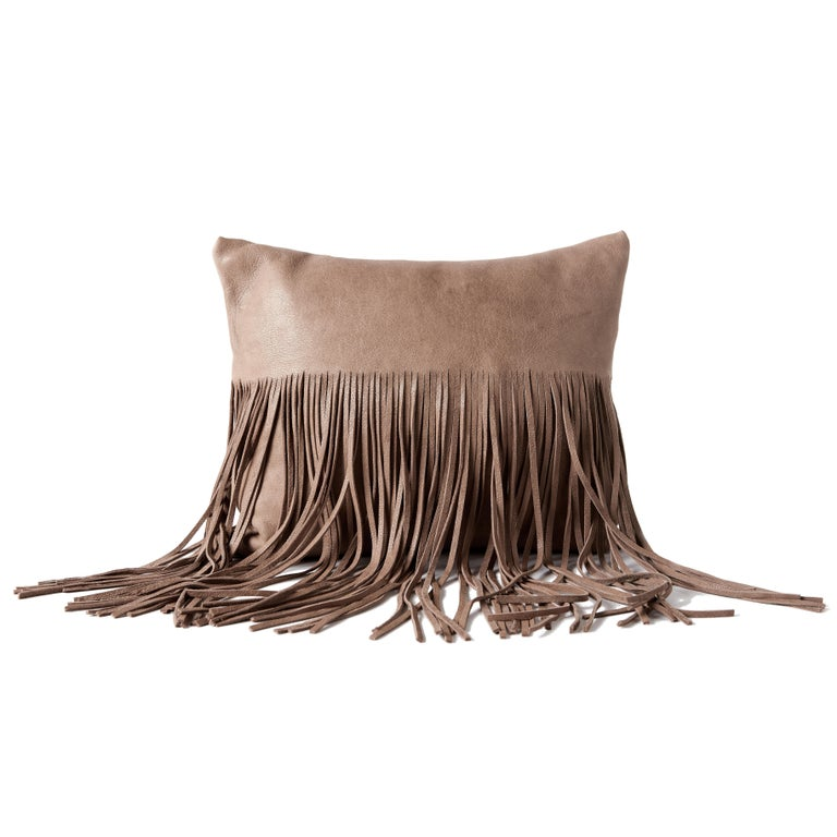 Hand-Crafted Small Fringe Pillow in Black Leather by Moses Nadel For Sale