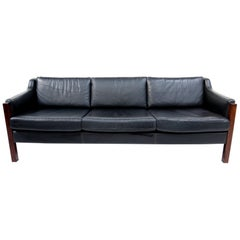 Black Leather Gelderland Three-Seat Sofa, 1960s