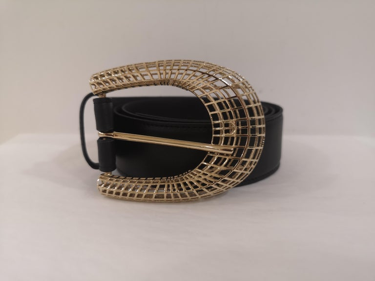 Black leather gold hardware belt NWOT totally made in italy