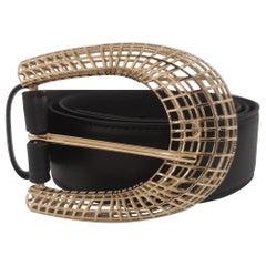Black leather gold hardware belt NWOT