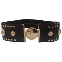 Black leather gold hardware elastic belt NWOT