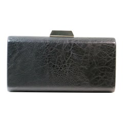 Black Leather Hard Shell Clutch