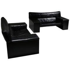 Black Leather Italian Design Cini Boeri 'Brigadier' Loveseats for Knoll