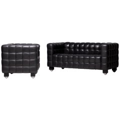 "Black Leather ""Kubus"" Sofa and Club Chair by Josef Hoffman for Wittmann"