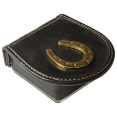 Black Leather Lidded Glass Box with Bronze Horseshoe Accent by Jacques Adnet