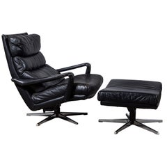 Black Leather Lounge Chair and Ottoman