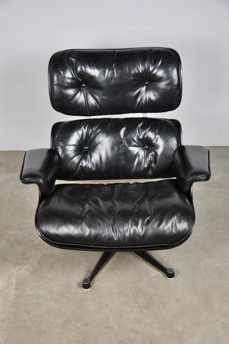 Central American Black Leather Lounge Chair by Charles & Ray Eames, 1970s For Sale