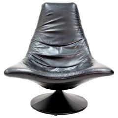 Black Leather Lounge Chair by Gerard van der Berg, 1970s