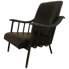 Black Leather Lounge Chair by Jacques Adnet, France, 1950