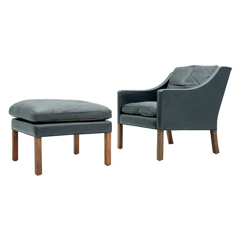 Danish Lounge Chair with Stool by Børge Mogensen in Black Leather, 1960s For Sale