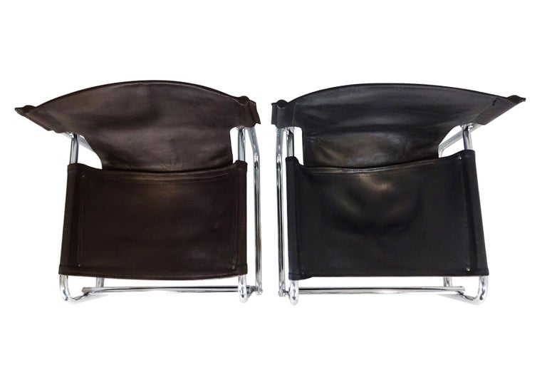 Bauhaus Black Leather Lounge Chairs, Vintage Midcentury by Rodney Kinsman for OMK For Sale