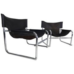 Black Leather Lounge Chairs, Vintage Midcentury by Rodney Kinsman for OMK