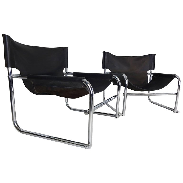 Black Leather Lounge Chairs, Vintage Midcentury by Rodney Kinsman for OMK For Sale