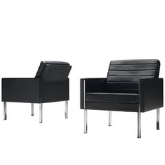 Black Leather Lounge Chairs with Chrome Frame