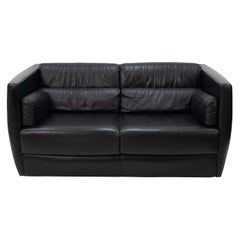 Black Leather Love Seat Roche Bobois