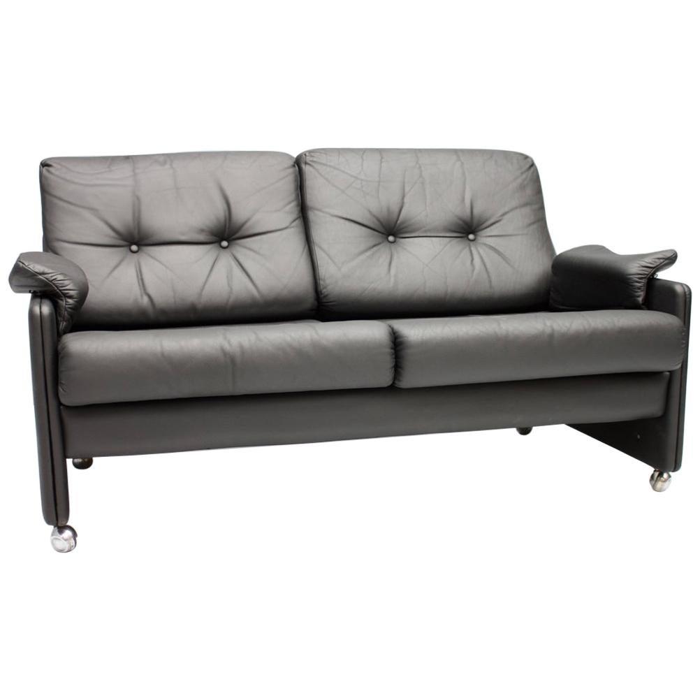 Black Leather Loveseat Sofa, Germany, 1959